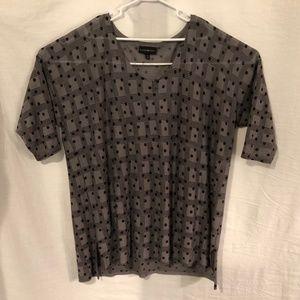 Lane Bryant Plus Size 22 24 Blouse Gray Dots 1122